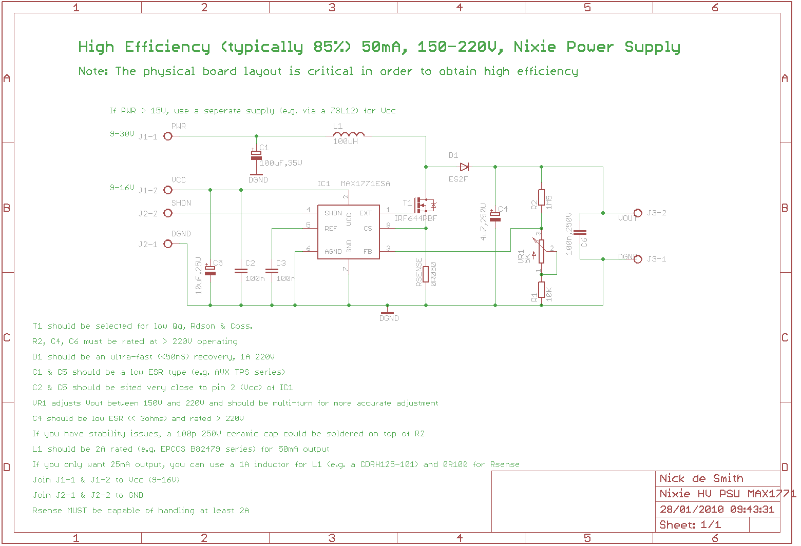 Nixie Hv Switching Psu Schematic Together With Symbols On Eagle Of